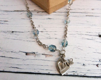 Love and Heart Necklace, Stainless Steel Pendant, Something Blue Gift for the Bride, Graduation Present for High School, Friendship Necklace