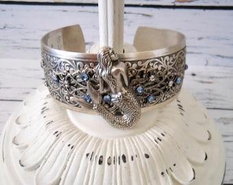 Cuff Bracelet, Silver Mermaid Sapphire Blue Rhinestones, Unique Present for Bridesmaid Beach Wedding, Something Blue Jewelry Bridal Shower