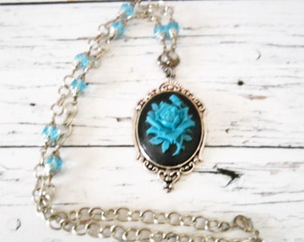 Blue Rose Necklace, Light Blue Bead Antiqued Silver Cameo Pendant, Victorian Gothic Wedding Maid of Honor Present, Hostess Thank You Gift
