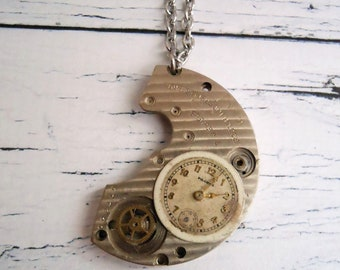 Watch Part Necklace, Steampunk Surgical Steel Watch Bridge Peculiar Pendant, Distinct and Different Birthday Gift for Boyfriend or Husband