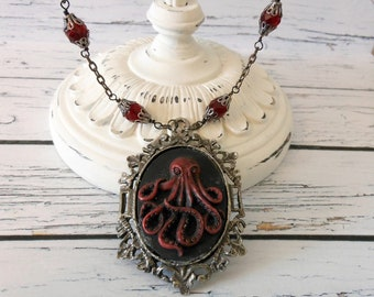 Octopus Necklace, Cameo Red and Black Gunmetal, Ocean Lover Jewlery Present, Gothic Womens Jewelry  Unique Birthday Jewelry for Goth Teens