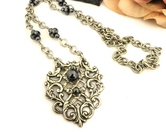 Hematite Beaded Silver Filigree Necklace, Edwardian Medieval Jewelry, Womens Gemstone Jewelry for Her, Long Statement Necklace for Mom