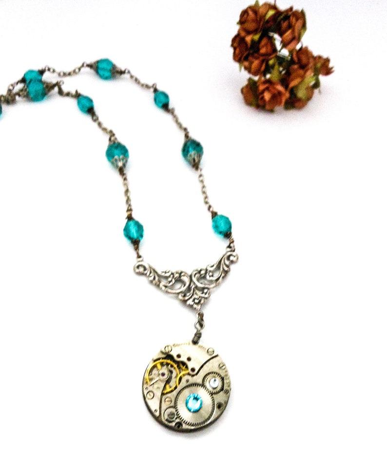 Aquamarine Steampunk Necklace  Upcycled Vintage Watch image 0