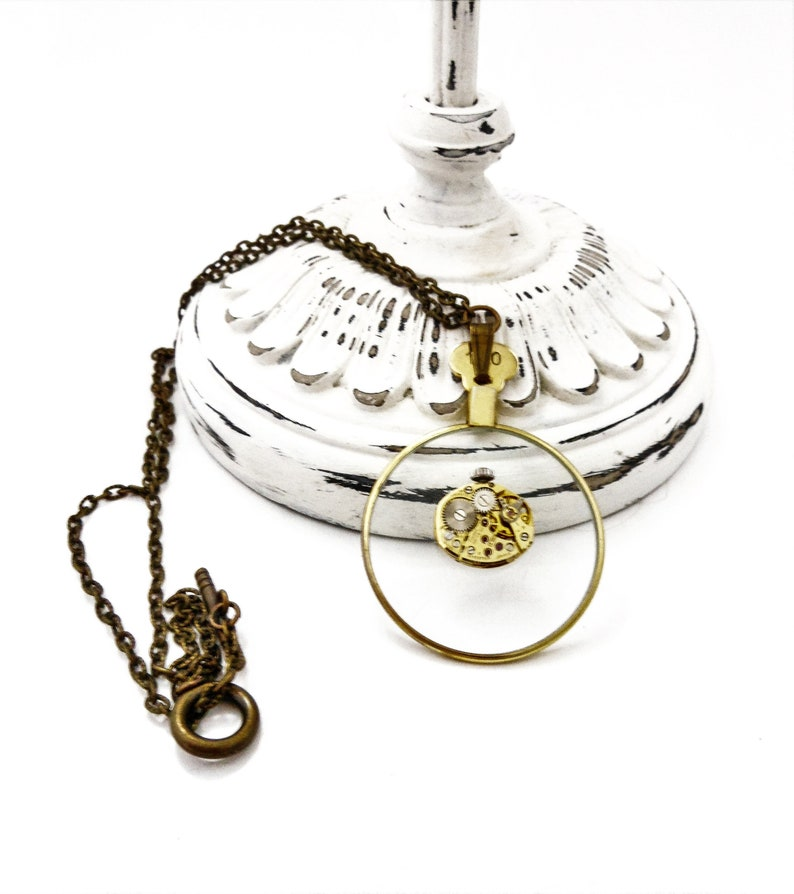 Recycled Vintage Watch Movement Monocle Necklace  Steampunk image 0