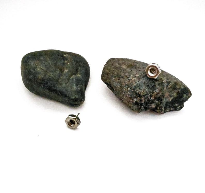 Unisex Handmade Genuine Hex Nut Earrings  Industrial Design image 0