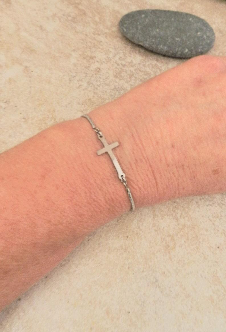 Tiny Silver Sideways Cross Slider Bracelet Dainty Bracelets image 0