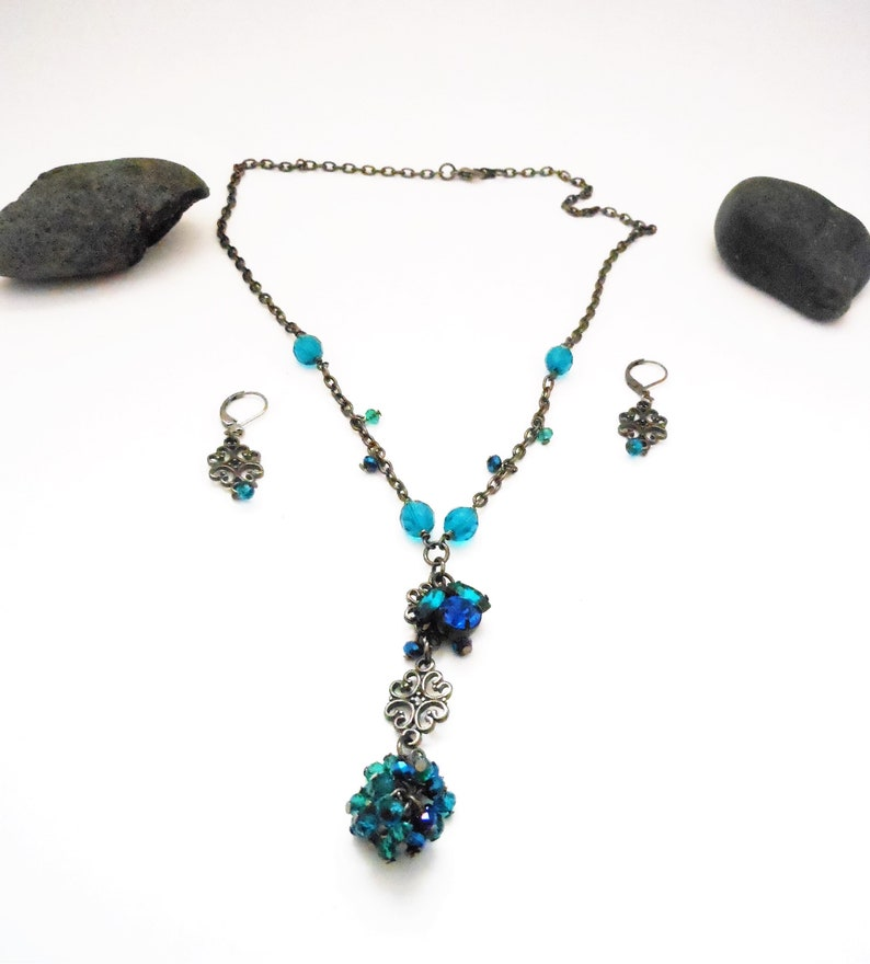 Teal Black Earring and Necklace Set in Gunmetal  Gothic image 0