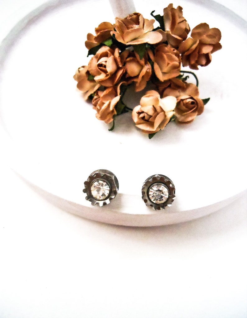 Swarovski Crystal Womens Stud Earrings  Recycled Mechanical image 0