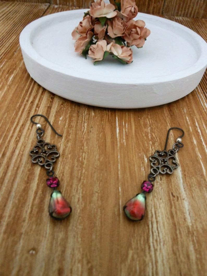 Mixed Color Earrings Stones Womens Dangly Gunmetal Drop image 0