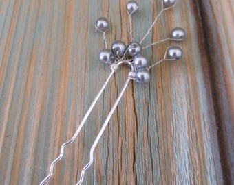 Hair Fork, Silver Pearl Vines Dark Gray, Beaded Cluster Updo Pin, Bohemian Bride Hair Decor for Beach Wedding, Mother of the Groom Hair Pin