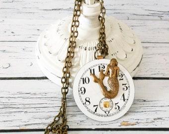 Mermaid Necklace, Brass White Ceramic Pocket Watch Dial, Ocean Sea Lover Pendant, Unique Beach Wedding Bridesmaid Gift, Nautical Jewelery