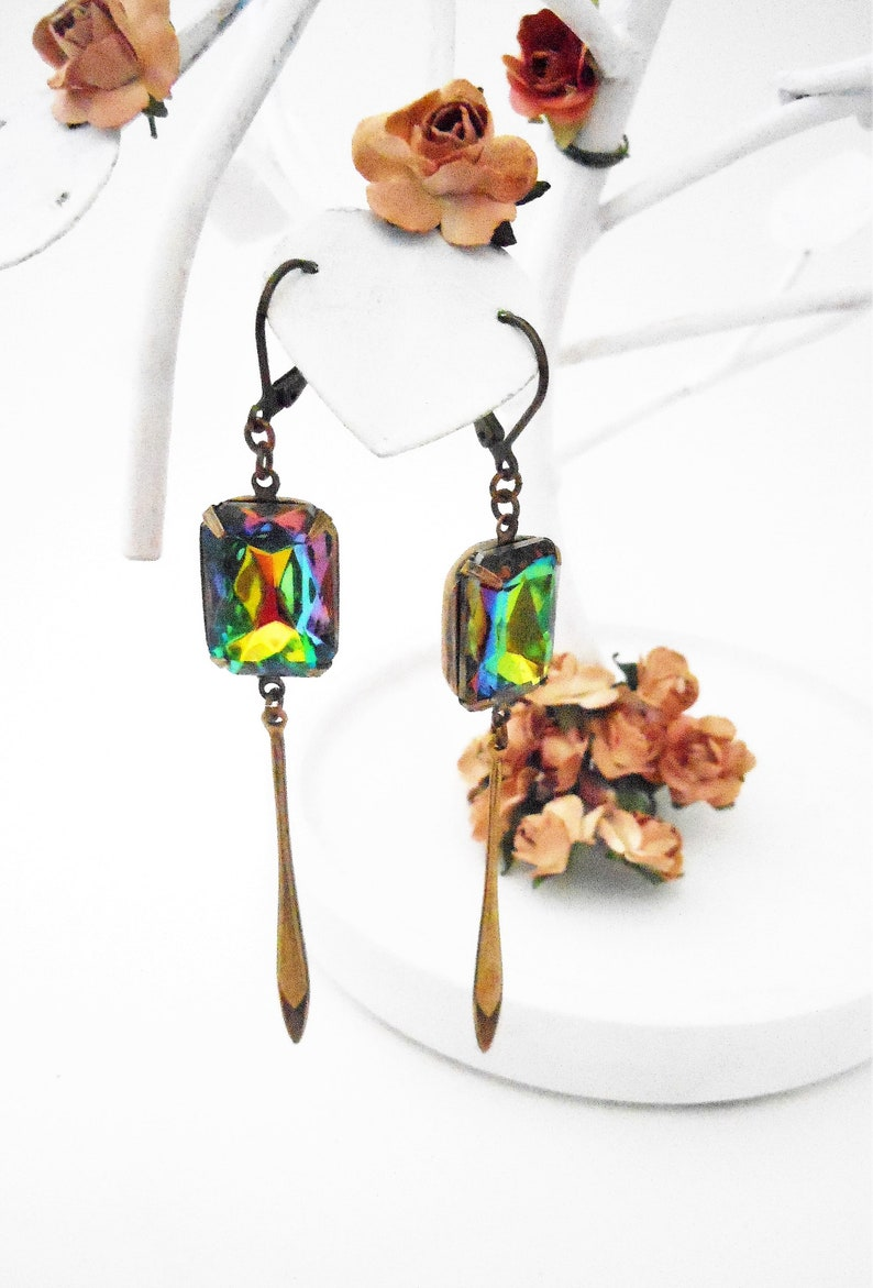 Multi Color Stone Earrings Brass  Womens Modern Long Dangly image 0