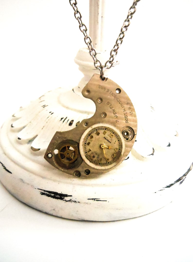 Necklace for Men Watch Mechanism  Recycled Steampunk Jewelry image 0