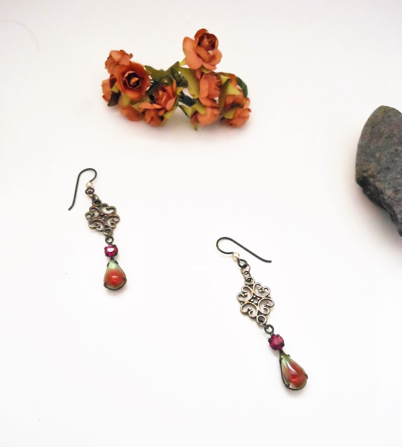 Dangly Teardrop Earrings for Women Green and Pink Fusion image 0