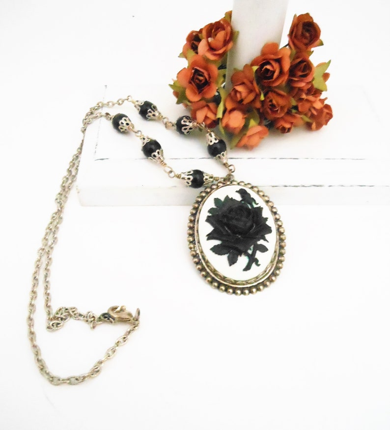 Black Rose Necklace Cameo Victorian Womens Flower Pendant image 0