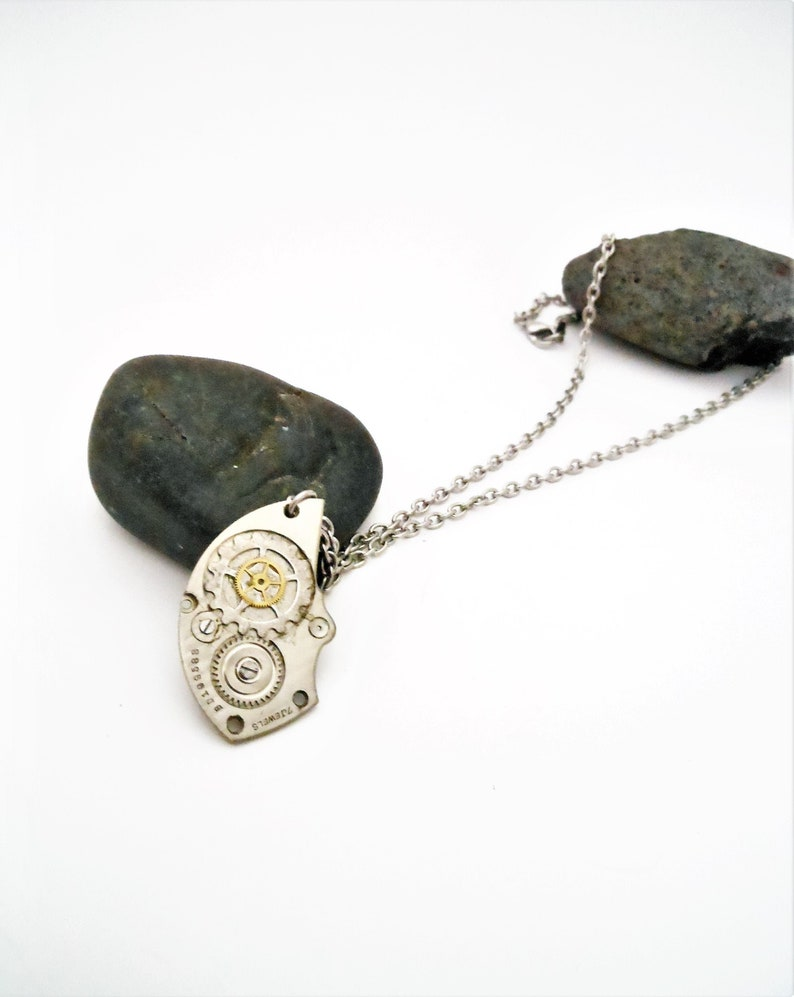 Men's Steampunk Necklace Stainless  Watch Gear Pendant image 0