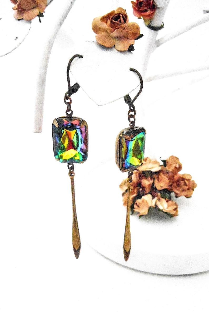 Colorful Glass Earrings Brass  Modern Arrow Drop Long Dangly image 0