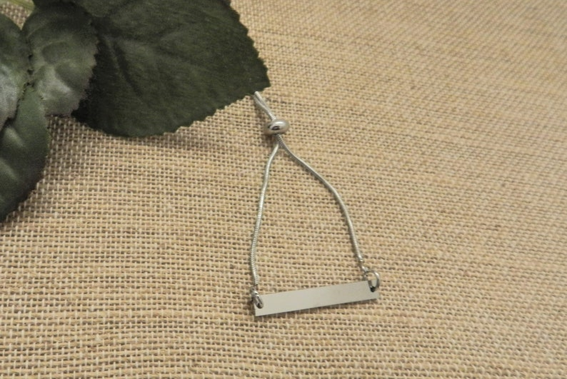 Dainty Silver Bar Bracelet Simple Adjustable Sliding Chain image 0