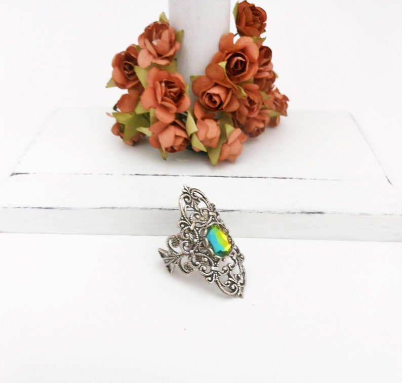 Silver Ring Vitrail Glass Victorian Style Layered Finger image 0