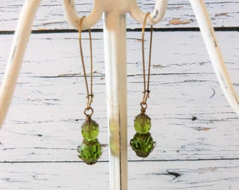 Olive Green Earrings, Brass Beaded Simple Dangles, Bohemain Bridesmaid Mother of the Bride Jewelry, Wife Sister Daughter for Wedding