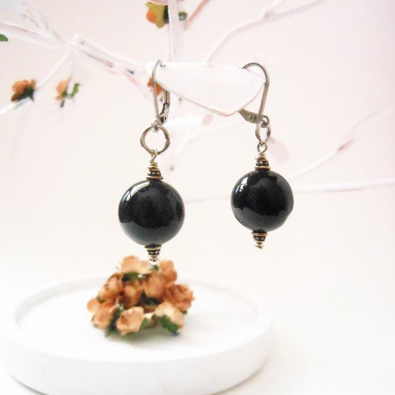 Black Agate Earrings Simple Bead Earthy Stone Jewelry for image 0