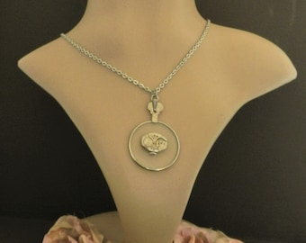 Silver Necklace for Unique Women, Steampunk Jewelry Monocle Floating Watch Movement, Gift for Grandma, Best Friend, Significant Other