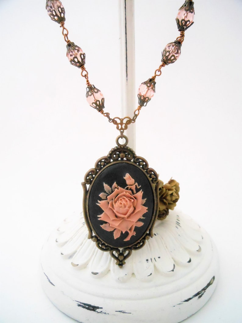 Womens Necklace with Cameo Pendant Pink Rose Brass Beaded image 0