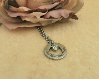 Follow Your Heart Silver Necklace, Inspiration Sentiment Friendship Necklace Gift for Friend, April Birthstone Diamond Alternative Pendant