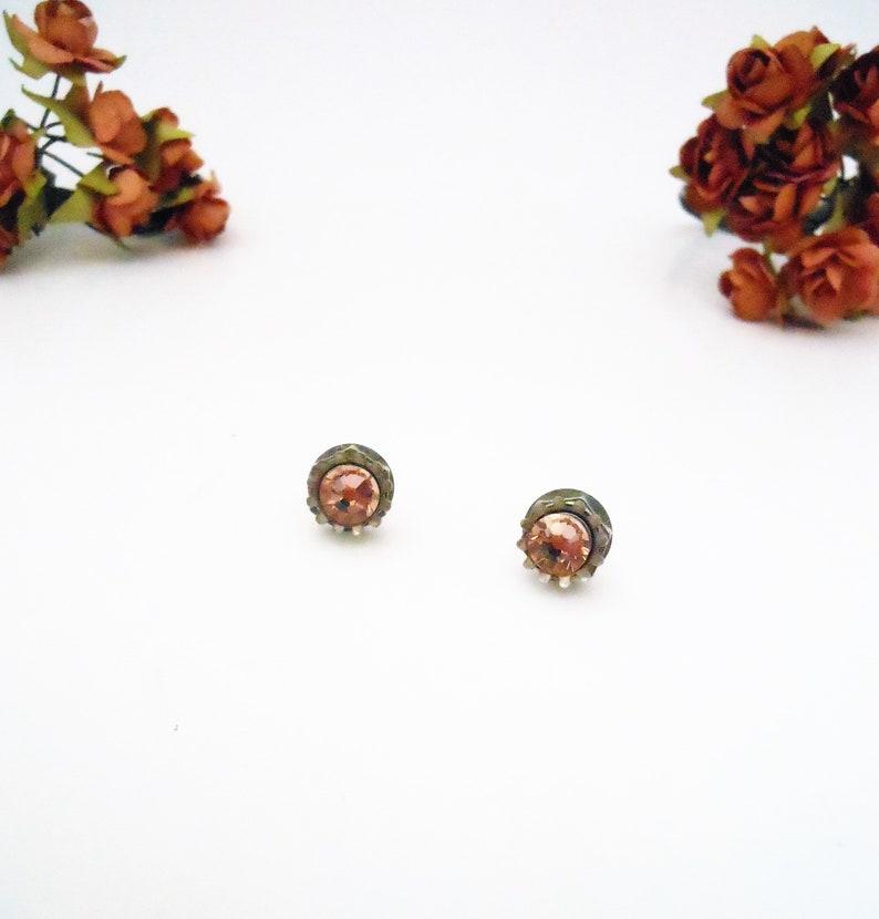 Unique Pink Stud Earrings  Hex Nut Post Earring Rhinestone image 0