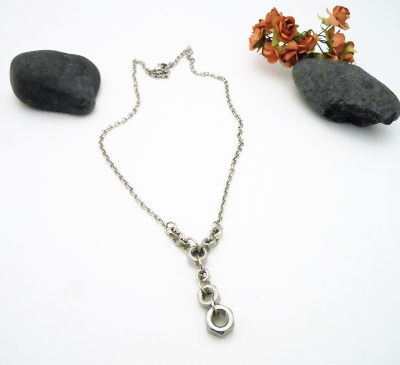 Steel Necklace Hex Nut Stainless  Lariat Geometric image 0
