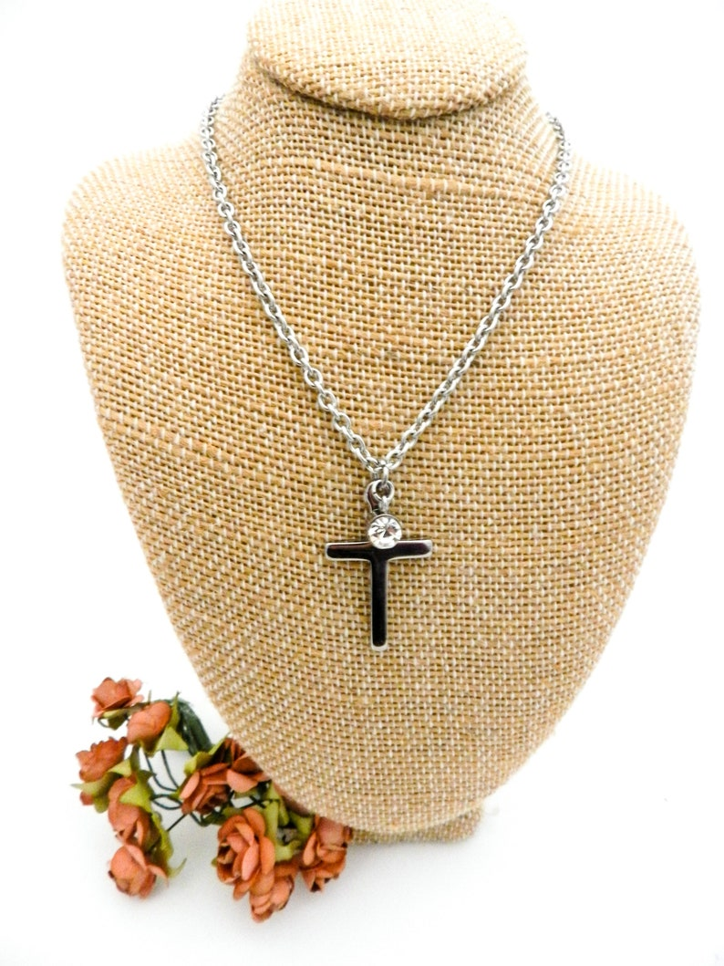 Womens Cross Necklace  Simple Cross Pendant with Rhinestone image 0