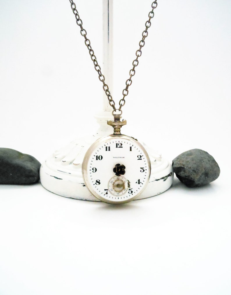 Silver Necklace Recycled Pocketwatch  Steampunk Victorian image 0