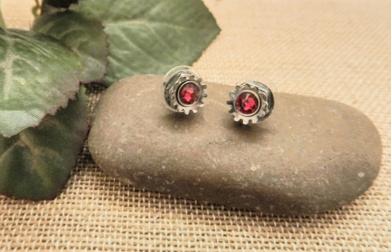 Ruby Red Swarovski Crystal Earrings for Women  Recycled image 0