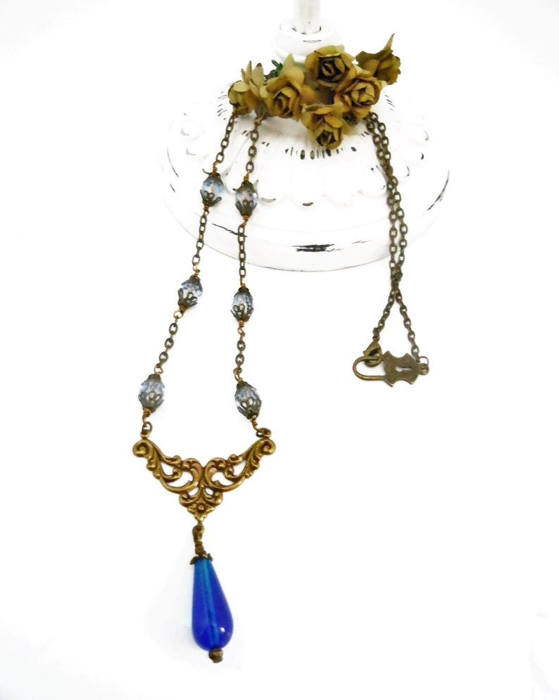 Beaded Necklace Blue and Bronze Neo Victorian Teardrop image 0