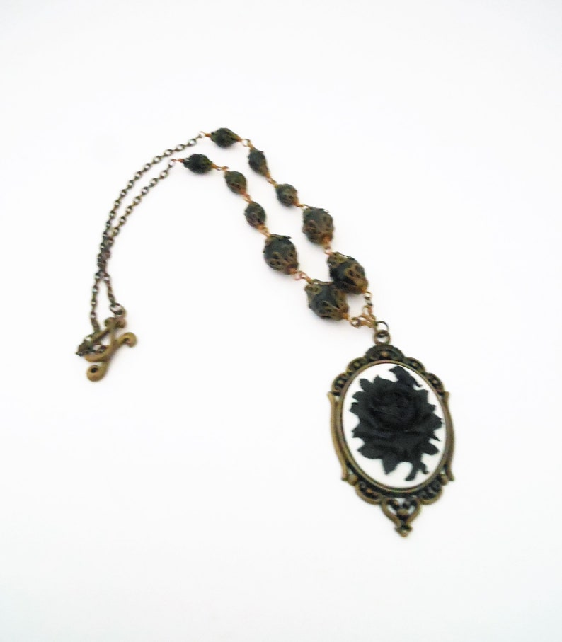 Rose Cameo Necklace in Black and White Jet Black Beaded Art image 0