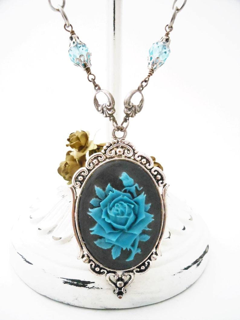 Blue Rose Necklace Cameo Gothic Botanical Style Gift for image 0