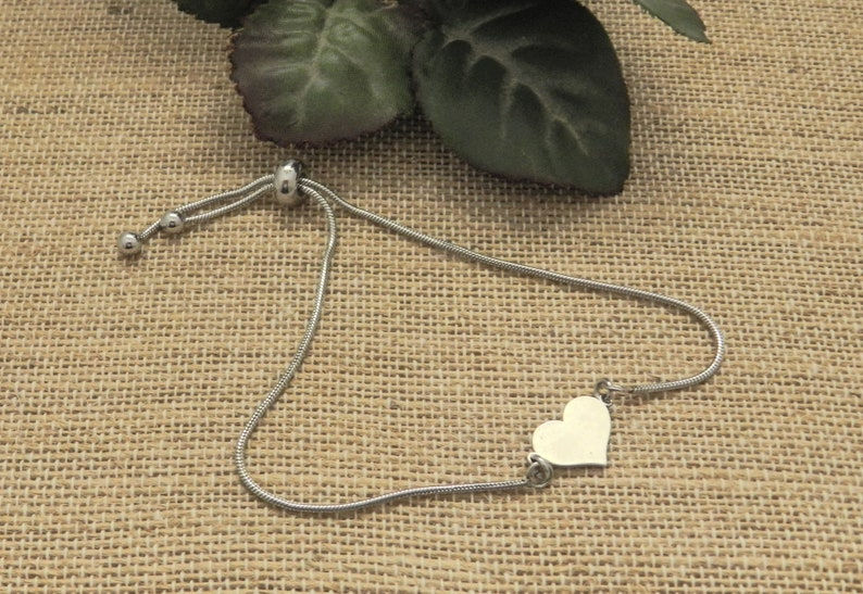 Silver Tiny Heart Slider Bracelet Dainty Womens Bracelets for image 0