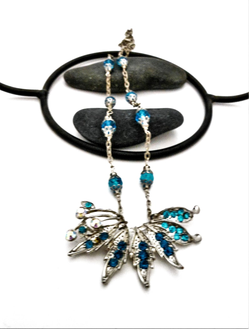Womens Brooch Necklace for Mom  Aquamarine Blue Green Crystal image 0