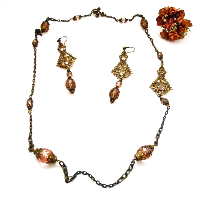 Rose Blush Necklace and Earring Set  Art Deco Old Hollywood image 0