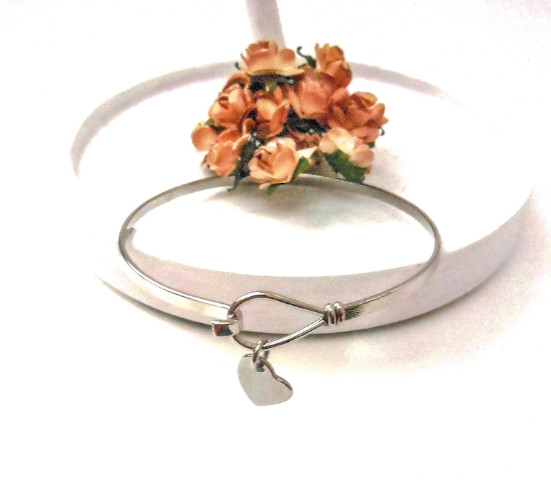 Heart Charm Bracelet  Steel Bangle Wristband Unique image 0