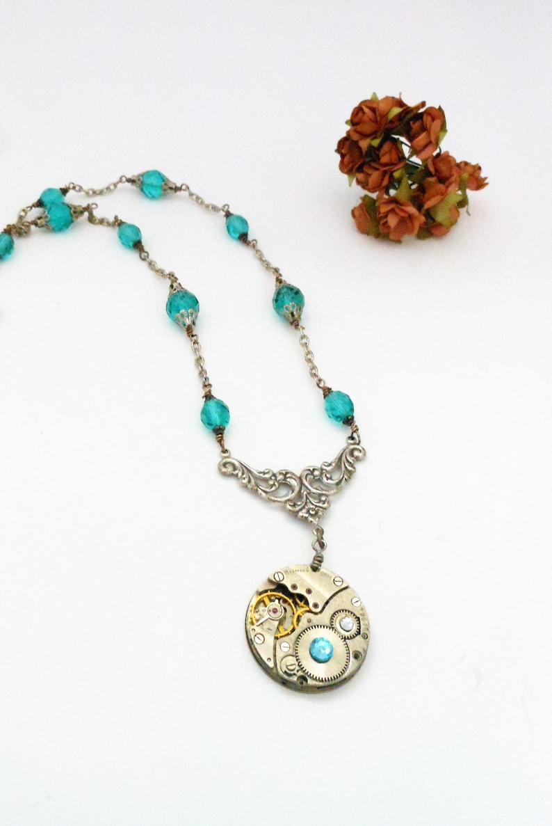 Aquamarine Steampunk Necklace  Upcycled Vintage Watch image 0