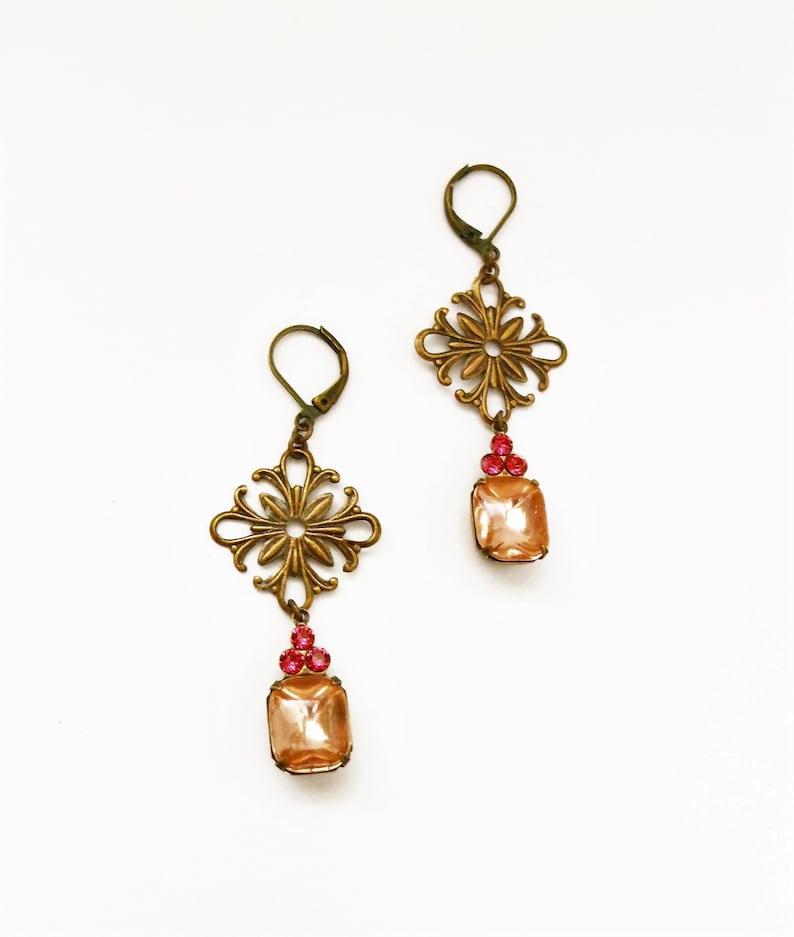 Earrings Vintage Swarovski Indian Pink Brass Octagon Dangles image 0