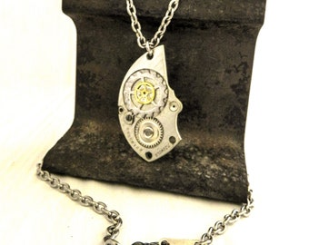 Steampunk Necklace for Men, Watch Gear Stainless Pendant, Unusual Present for Grandpa Pops Uncle Husband, Silver Anniversary Unique Jewelry