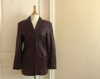 Vintage BURGUNDY BROWN Leather Jacket / 90s Lord & Taylor / Womens Medium Large /