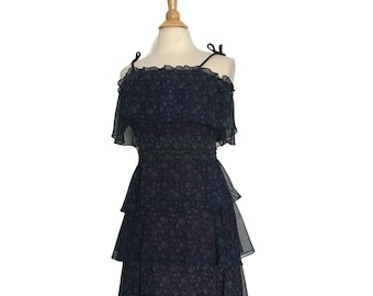 3b2c02ab75 Vintage 70s Navy FLORAL Tiered Sundress With BELT   Blue Tiered Flower  Pattern Semi-Sheer Sun Dress   Womens Small Medium