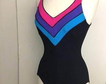 Vintage Black CHEVRON Bathing Suit / Low Cut Back Swimsuit / Pink And Blue Bathing Suit / Womens Medium Large