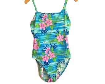 f3f12178ff Vintage 80's AQUA Blue & Pink TROPICAL One Piece Swimsuit / Palm Tree Print  / Blue FLORAL Hawaiian Bathing Suit / Women's Medium Large
