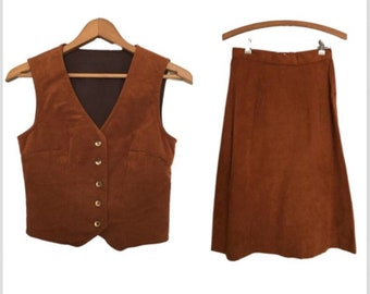 5f40f11db Vintage 60's RUST Brown Suede Vest And Skirt / Handmade Shirt And Skirt Two  Piece Set / Rust Color Vest & Skirt Set / Women's Extra Small