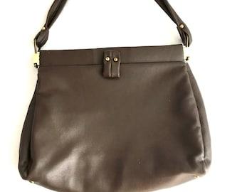 Vintage 60s CHESTNUT Brown Handbag   Vegan MOD Purse   Brown Clutch Top  Handle Bag   Minimalist Solid Brown Pocketbook 51a4397c9fcda
