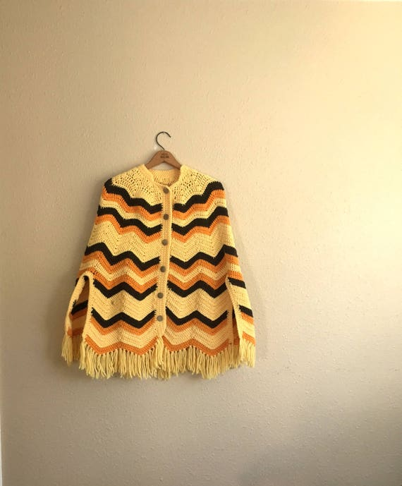 Vintage Gelb Braun Zick Zack Muster Häkeln Poncho Cape Etsy